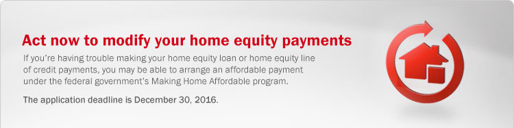 Modify your home equity payments. If you're having trouble making your home equity loan or home equity line of credit payments, you may be able to arrange an affordable payment under the federal government's Making Home Affordable program.