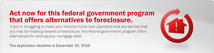 Federal government program offers alternatives to foreclosure. If you're struggling to make your monthly home loan payments and are worried that you may be heading towards a foreclosure, this federal government program offers alternatives for settling your mortgage debt.