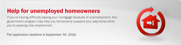 Help for unemployed homeowners. If you're having difficulty paying your mortgage because of unemployment, this government program may help you temporarily suspend your payments while you're seeking new employment.
