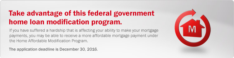 Federal government home loan modification program. If you have suffered a hardship that is affecting your ability to make your mortgage payments, you may be able to receive a more affordable mortgage payment under the Home Affordable Modification Program.