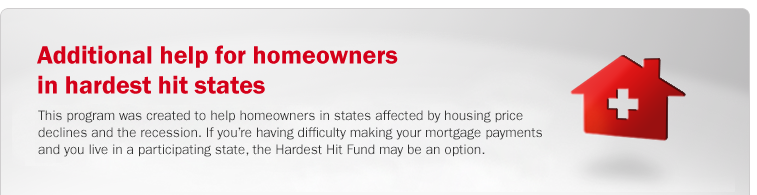 Additional help for homeowners in hardest hit states. This program was created to help homeowners in states affected by housing price declines and the recession. If you're having difficulty making your mortgage payments and you live in a participating state, the Hardest Hit Fund may be an option.