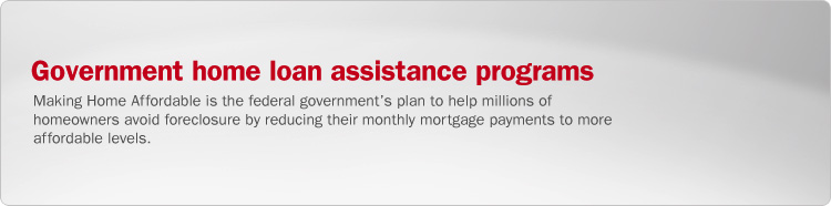 Government home loan assistance programs. Making Home Affordable is the federal government's plan to help millions of homeowners avoid foreclosure by reducing their monthly mortgage payments to more affordable levels.